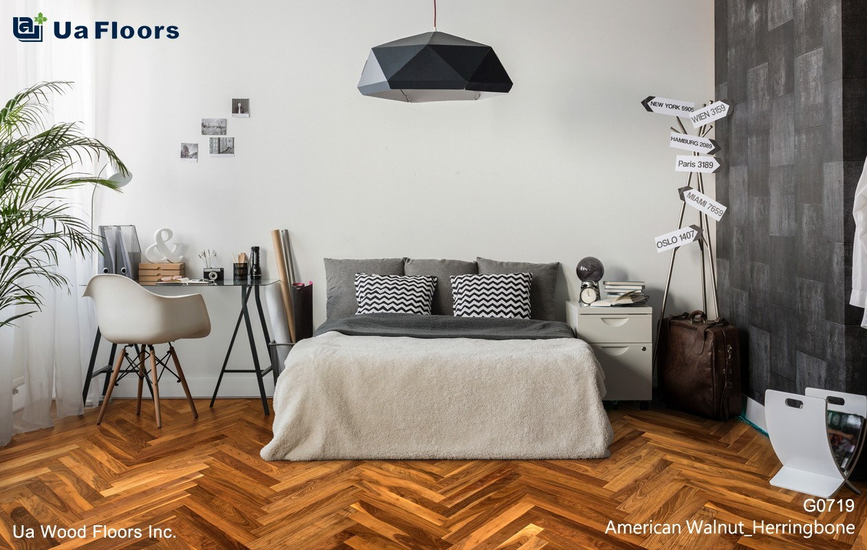 Ua Floors - PRODUCTS|American Walnut Herringbone Hardwood Flooring